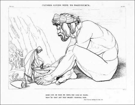 Ulysses Giving Wine to Polyphemus 1805 by John Flaxman 1755-1826